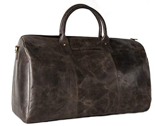 HOLZRICHTER Berlin No 13-1 - Premium Weekender Reisetasche, Sporttasche und Handgepäck aus Leder - dunkel-braun
