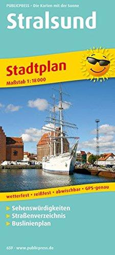 Stadtplan Stralsund: Mit Sehenswürdigkeiten, Straßenverzeichnis, Buslinienplan, wetterfest, reißfest, abwischbar, GPS-genau. 1:18000