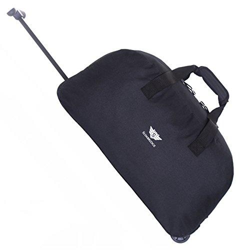 Slimbridge Handgepäck Reisetasche Rollenreisetasche Leichtgewicht Trolley Gepäcktasche mit Rollen - 40 Liter 55 cm 900 Gramm Faltbare auf 2 Rädern und Trolleyfunktion Teleskopgriff, Castletown Schwarz