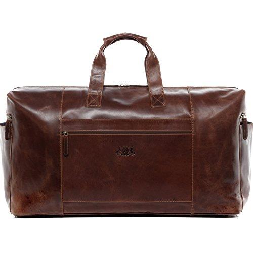 SID & VAIN Reisetasche echt Leder Bristol XXL groß Sporttasche groß Weekender Ledertasche Herren 65 cm braun