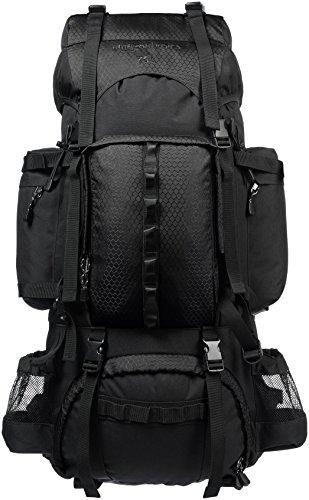 AmazonBasics - Wanderrucksack mit Innengestell und Regenschutz, 75 L, Schwarz