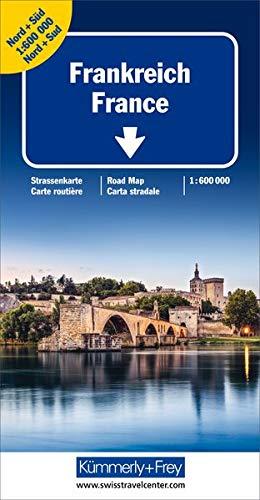 Frankreich Nord+Süd Strassenkarte 1:600 000: Doppelkarte, Stadtübersichtspläne, Reiseinformationen, Distanzentabelle, Index (Kümmerly+Frey Strassenkarten)