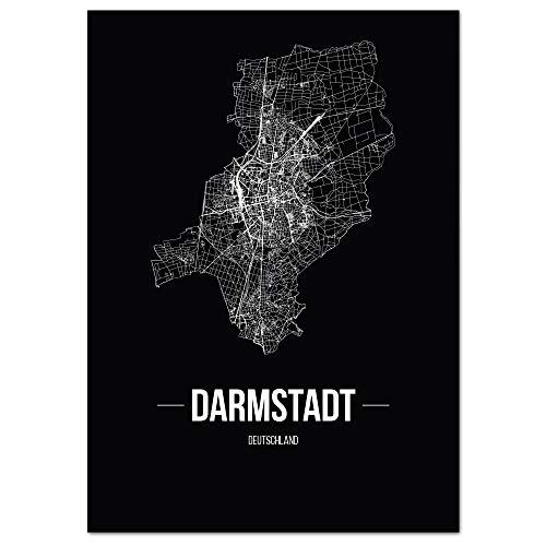 JUNIWORDS Stadtposter - Wähle Deine Stadt - Darmstadt - 60 x 90 cm Poster - Schrift B - Schwarz