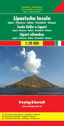 Liparische Inseln-Lipari-Panarea-Salina-Stromboli-Vulcano-Italien Süd. Autokarte. 1 : 20 000 /  1 : 600 000.