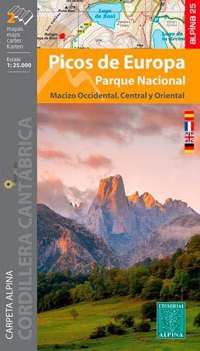 Wanderkarte Nationalpark Picos de Europa 1:25000: Carpeta Alpina. Macizo Occidental / Macizo Central y Oriental