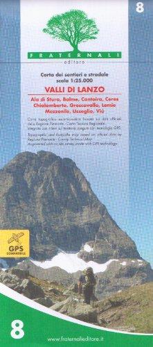 Wanderkarte Piemont Blatt 8 Valli di Lanzo 1:25.000 - Provinz Turin / Torino, Italien topographische Wanderkarte 1:25.000 mit Höhenlinien