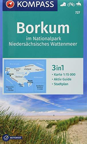 KOMPASS Wanderkarte Borkum im Nationalpark Niedersächsisches Wattenmeer: 3in1 Wanderkarte 1:15000 mit Aktiv Guide inklusive Karte zur offline ... Reiten. (KOMPASS-Wanderkarten, Band 727)