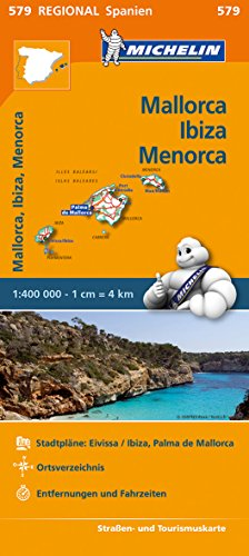 Michelin Balearen (Mallorca, Ibiza, Menorca): Straßen- und Tourismuskarte 1:140.000 (MICHELIN Regionalkarten)