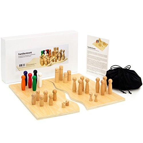 Familienbrett   Systembrett aus hochwertigem Holz für Familienaufstellung und Coaching   32 Teile inkl. Aufbewahrungsbox