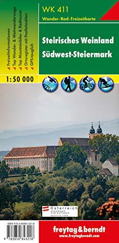 Steirisches Weinland - Südwest-Steiermark, Wanderkarte 1:50.000, WK 411: Wandel- en fietskaart 1:50 000 (freytag & berndt Wander-Rad-Freizeitkarten)