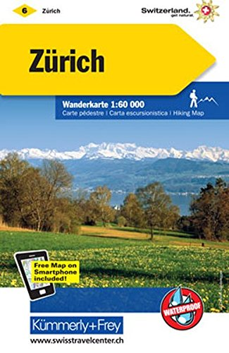 Zürich Wanderkarte Nr. 06: Massstab 1:60000, waterproof, Free Map on Smartphone included (Kümmerly+Frey Wanderkarten)