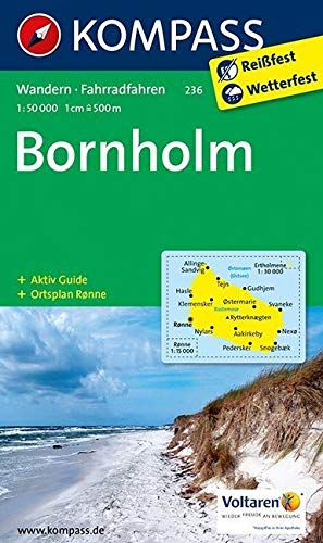 Bornholm: Wanderkarte mit Akiv Guide, Radrouten und Stadtplan von Ronne. 1:50000 (KOMPASS-Wanderkarten, Band 236)