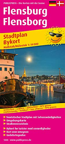 Flensburg, Flensborg: Touristischer Stadtplan mit Sehenswürdigkeiten und Straßenverzeichnis. 1 : 14 000 (Stadtplan / SP)