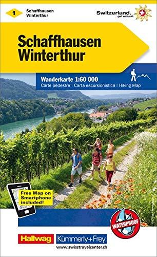 Schaffhausen-Winterthur: Wanderkarte Nr. 1, Massstab 1:60 000, waterproof, Free Map on Smartphone included (Kümmerly+Frey Wanderkarten)