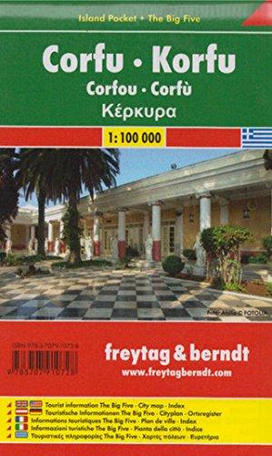 Korfu, Autokarte 1:100.000, Island Pocket + The Big Five, freytag & berndt Auto + Freizeitkarten: Toeristische wegenkaart 1:100 000