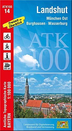 ATK100-14 Landshut (Amtliche Topographische Karte 1:100000): München Ost, Burghausen, Wasserburg, Freising, Mainburg, Moosburg a.d.Isar, Hallertau, ... Topographische Karte 1:100000 Bayern)