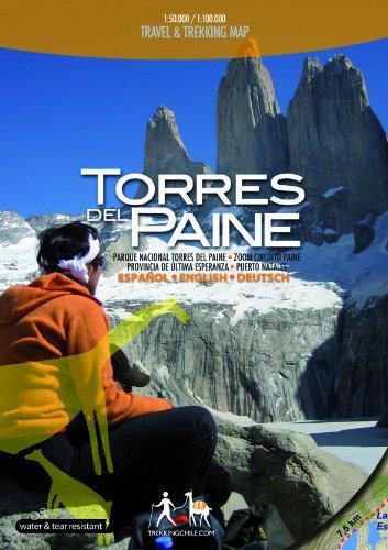 Torres del Paine, Reise- und Wanderkarte, Patagonien, Maßstab 1:100.000 / 1:50.000 - 4 Karten in one