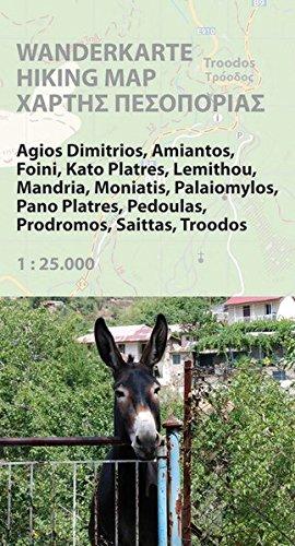 Hiking map Cyprus (Troodos Region): Wanderkarte 1:25.000, GPS-genau