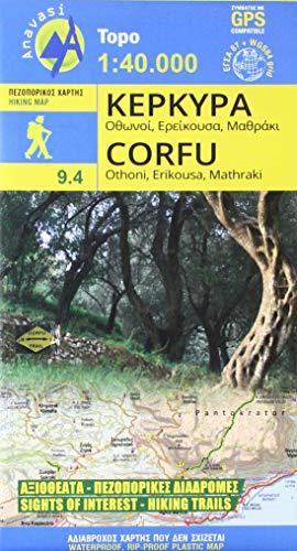 Corfu Wanderkarte 1 : 40 000 Topografische Wanderkarte 9.4