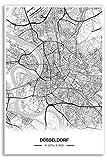 Zulumaps Poster Duesseldorf Stadtplan - Hochwertiger Kunstdruck 50x75cm, Farbe: Schwarz-Weiss