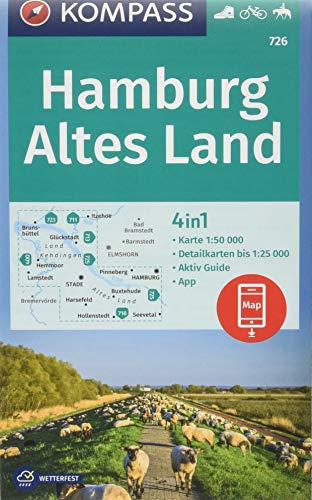 KOMPASS Wanderkarte Hamburg, Altes Land: 4in1 Wanderkarte 1:50000 mit Aktiv Guide und Detailkarten inklusive Karte zur offline Verwendung in der ... Reiten. (KOMPASS-Wanderkarten, Band 726)