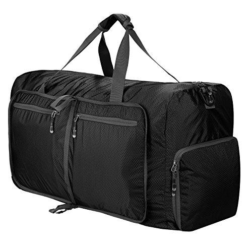 Sailnovo Leichte Faltbare 85L Reise-Gepäck Duffel Taschen Weekender Übernachtung Taschen Reisetasche Sporttasche für Sport Reisen Gym Urlaub (Schwarz)