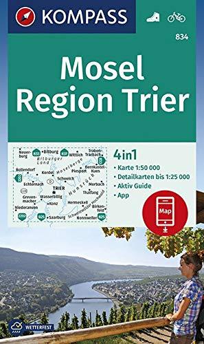 KOMPASS Wanderkarte Mosel, Region Trier: 4in1 Wanderkarte 1:50000 mit Aktiv Guide und Detailkarten inklusive Karte zur offline Verwendung in der ... (KOMPASS-Wanderkarten, Band 834)