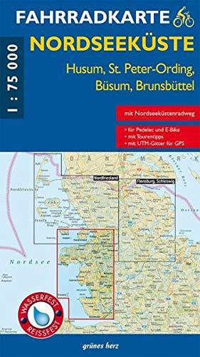 Fahrradkarte Nordseeküste - Husum, St. Peter-Ording, Büsum, Brunsbüttel: (wasser- und reißfest)