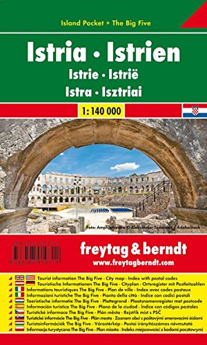 Istrien, Autokarte 1:140.000, Island Pocket + The Big Five, freytag & berndt Auto + Freizeitkarten: Toeristische wegenkaart 1:140 000