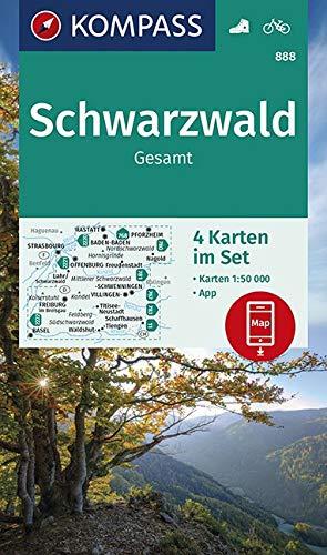 KV WK 888 Schwarzwald Gesamt (4-K-Set) 50T: 4 Wanderkarten 1:50000 im Set inklusive Karte zur offline Verwendung in der KOMPASS-App. Fahrradfahren. (KOMPASS-Wanderkarten, Band 888)