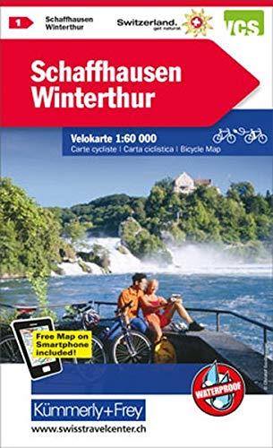 Schaffhausen-Winterthur: Nr. 1, Velokarte 1:60 000, waterproof, Free Map on Smartphone included (Kümmerly+Frey Velokarten)