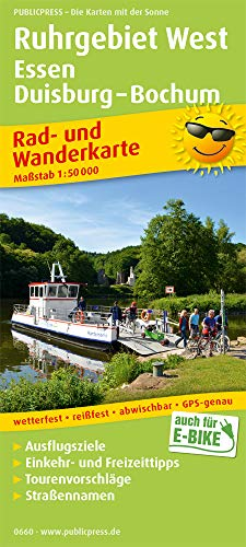 Ruhrgebiet West, Essen, Duisburg - Bochum: Rad- und Wanderkarte mit Ausflugszielen, Einkehr- & Freizeittipps, wetterfest, reißfest, abwischbar. 1:50000 (Rad- und Wanderkarte / RuWK)