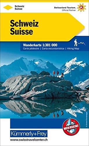 Schweiz: Wanderkarte, 1:301 000, Index, wasser-und reißfest (Kümmerly+Frey Wanderkarten)