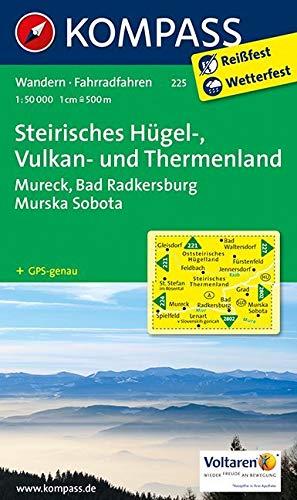 KOMPASS Wanderkarte Steirisches Hügel-, Vulkan- u. Thermenland: Wanderkarte mit Radrouten. GPS-genau. 1:50000: Wandelkaart 1:50 000 (KOMPASS-Wanderkarten, Band 225)