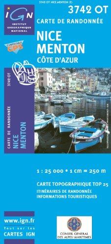 Top25 3742OT ~ Nice, Menton Cote d'Azur Wanderkarte mit einem kostenlosen Maßstabslineal