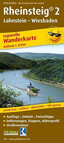 Rheinsteig 2, Lahnstein - Wiesbaden: Leporello Wanderkarte mit Ausflugszielen, Einkehr- & Freizeittipps, Straßennamen, wetterfest, reissfest, ... 1:25000 (Leporello Wanderkarte / LEP-WK)