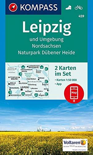 KOMPASS Wanderkarte Leipzig und Umgebung, Nordsachsen, Naturpark Dübener Heide: 2 Wanderkarten 1:50000 im Set inklusive Karte zur offline Verwendung ... 1:50 000 (KOMPASS-Wanderkarten, Band 459)