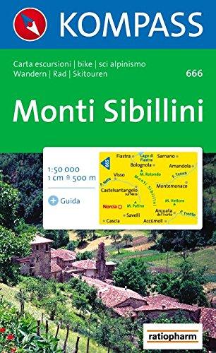 Monti Sibillini: Wanderkarte mit Kurzführer ital., Radrouten und alpinen Skirouten. 1:50000