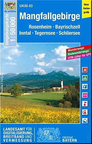 UK50-53 Mangfallgebirge: Rosenheim, Bayrischzell, Inntal, Tegernsee, Schliersee (UK50 Umgebungskarte 1:50000 Bayern Topographische Karte Freizeitkarte Wanderkarte)