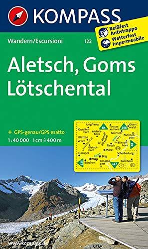 KOMPASS Wanderkarte Aletsch - Goms - Lötschental: Wanderkarte. GPS-genau. 1:40000: Wandelkaart 1:40 000 (KOMPASS-Wanderkarten, Band 122)
