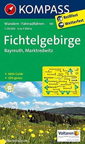 KOMPASS Wanderkarte Fichtelgebirge - Bayreuth - Marktredwitz: Wanderkarte mit Aktiv Guide und Radrouten. GPS-genau. 1:50000: Wandelkaart 1:50 000 (KOMPASS-Wanderkarten, Band 191)