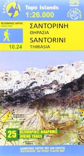 Santorini 1 : 26 000: Topografische Wanderkarte 10.24. Griechische Inseln - Ägäis, Kykladen (Topo Iles)