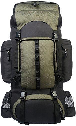 AmazonBasics - Wanderrucksack mit Innengestell und Regenschutz, 55 L, Grün