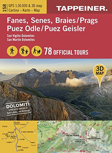 3D-Wanderkarte Fanes, Senes, Prags, Puez Geisler: Carta ecursionistica 3D - Fanes, Senes, Braies, Puez Odle (Kombinierte Sommer-Wanderkarten Südtirol) ... / Topografische Karte + 3D-Panoramakarte)