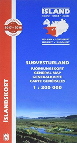 Island. Südwest 1 : 300 000: Sudvesturland, Fjördungskort. Mit Informationen und Farbfotos. Text in isländisch, englisch, deutsch, französisch. (Islandskort / Mal og menning)
