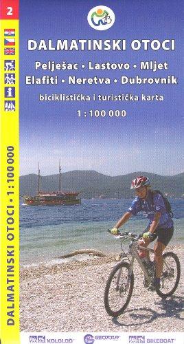 Kroatien, Kroatische Küste Süd - Dalmatinischen Inseln 1:100.000 Radfahren, Wandern Karte 2012 GEOTOUR Peljesac, Lastovo, Mljet, Elafiti, Neretva, Dubrovnik