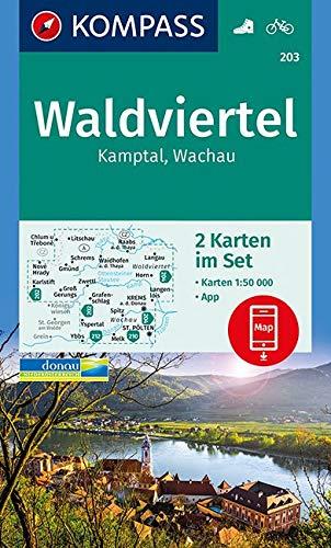KOMPASS Wanderkarte Waldviertel, Kamptal, Wachau: 2 Wanderkarten 1:50000 im Set inklusive Karte zur offline Verwendung in der KOMPASS-App. Fahrradfahren. (KOMPASS-Wanderkarten, Band 203)