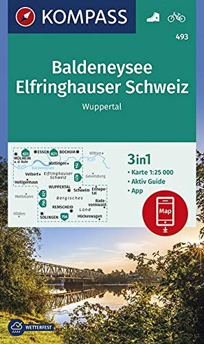 KOMPASS Wanderkarte Baldeneysee, Elfringhauser Schweiz, Wuppertal: 3in1 Wanderkarte 1:25000 mit Aktiv Guide inklusive Karte zur offline Verwendung in ... 1:25 000 (KOMPASS-Wanderkarten, Band 493)