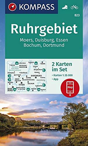 KOMPASS Wanderkarte Ruhrgebiet: 2 Wanderkarten 1:35000 im Set inklusive Karte zur offline Verwendung in der KOMPASS-App. Fahrradfahren.: Wandelkaart 1:35 000 (KOMPASS-Wanderkarten, Band 823)