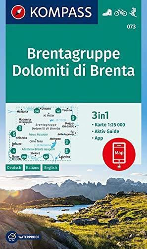 KOMPASS Wanderkarte Brentagruppe, Dolomiti di Brenta: 3in1 Wanderkarte 1:25000 mit Aktiv Guide inklusive Karte zur offline Verwendung in der ... 1:25 000 (KOMPASS-Wanderkarten, Band 73)